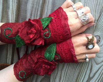 CUSTOM made for you red rose cuffs-fairy cuffs-red rose-arm warmers-festive-fingerless gloves-wool gloves-forest cuffs