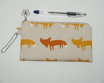 "Padded Zipper Pouch / Pencil Case / Cosmetic Bag Made with Japanese Cotton Linen Fabric ""Fox"""