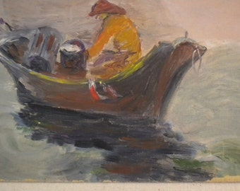 vintage painting oil/acryllic on 12x16 canval panel lone fisherman painting vintage painting