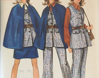 "Butterick 5585 Misses' Cape, Top, Skirt and Pants Pattern, UNCUT, Size 16, Bust 38"", Vintage 1970's, Suit, Work Wear, Line Cape, Retro"