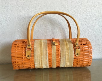 Vintage Orange Wicker Barrel Purse - 60s - Tiki - Pin Up - VLV - Unique!