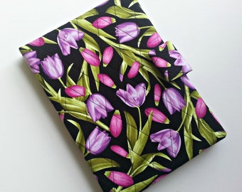 iPad /iPad Air/Kindle Fire HD 8.9/10 cover/Samsung Tab A cover quilted in Purple Tulip print
