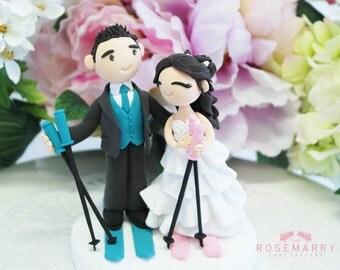 Custom Cake Topper- Skiing couple