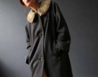 50s 60s Steele Grey Worsted Wool Blonde  Mink Collar Winter Coat Large Milson
