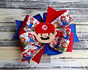Stacked Boutique Loopy Pinwheel Bow with Mario Felt Clip Center - Mario Brothers Hairbow - Handsewn Bow - Ready to Ship (RTS)