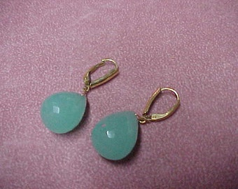 A Pair of Vintage Aqua Marine Pearshape 'Chunky' Earrings, Faceted, 42CTW, 17.5MMx13MM, 14K GF Leverbacks