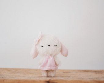 Lolita, sleepy bunny bear - handmade with love - teddy bear, miniature bear, plush toy, blythe bear, kawaii, bunny, mohair bear