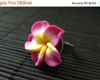 BACK to SCHOOL SALE Fuchsia Flower Ring. Plumeria Ring. Polymer Clay Ring. Frangipani Flower Ring. Copper Adjustable Ring. Flower Jewelry. H