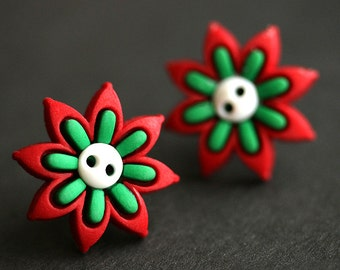 Green and Red Earrings. Christmas Flower Earrings. Holiday Earrings. Christmas Jewelry. Bronze Post Earrings. Handmade Xmas Jewelry.