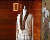 SALE / vintage 1950s fur collar cardigan / size large