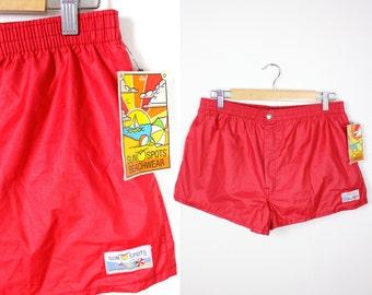 Vintage Retro Red Athletic Swim Shorts