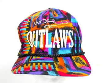 """Vintage Retro Bright """"World of Outlaws"""" Funky Fresh Prince Style Hat"""