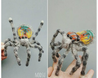 Needle felted, peacock spider, maratus volans, fiber sculpture, insect art, real life like spider, arachnid art , realistic posable bug