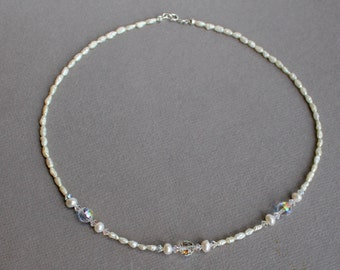 Freshwater Rice Pearls and Swarovski Crystal Necklace - Sterling Silver Jewelry- Free U.S Shipping-