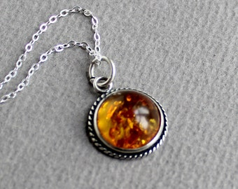 Baltic Amber Sterling Silver Jewelry Pendant - Free U.S Shipping-Birthday -Anniversary