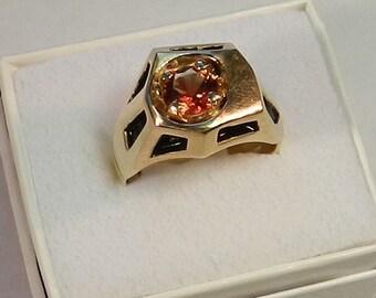 Men's Oregon Sunstone and 14K gold ring #37