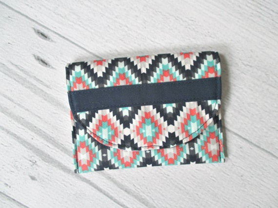 Memory Card Wallet. Coral Card Case. Navy, Mint and Coral Turkish Print Fabric Mini Wallet. Coin Purse.