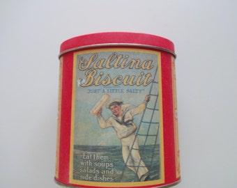 Vintage Metal Saltina Biscuit Tin 1992