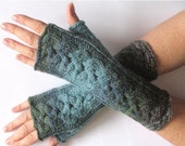 Gray Fingerless Gloves Blue Azure Green Moss Long Mittens Arm Warmers, Acrylic Wool