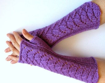 """Long Fingerless Gloves Purple Violet 11"""" Arm Warmers  Mittens Soft Acrylic"""