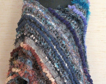 Cape Poncho Blue Purple Gray Brown Beige Hand Knitting Cape