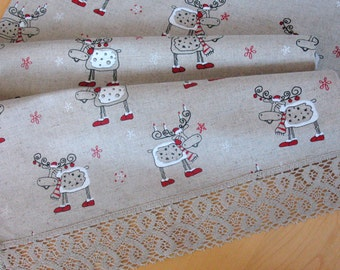 "Linen Table Runner Tablecloth Christmas Rudolph Reindeer Holiday Linen Lace 18.2"" x 37''"