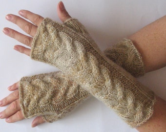Fingerless Gloves Cream Beige Cappuccino wrist warmers