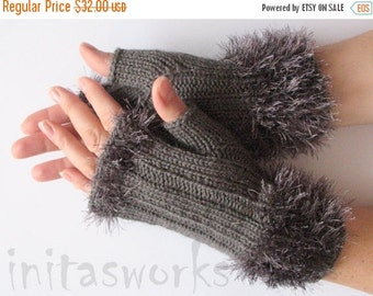 Fingerless Gloves Gray Arm Warmers Mittens 8 inch Knit Wool Acrylic