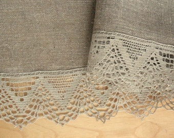 """Linen Tablecloth Vintage Tablecloth Burlap Checked Square Prewashed Natural Gray Linen Lace 43"""" x 43"""""""