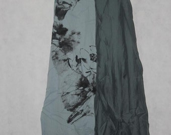 Fashion Summer Cotton Blue gray maxi dress double Long dress