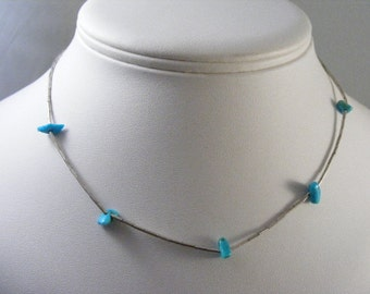 Vintage Southwest Liquid Silver Necklace with Turquoise Nuggets .... Lot 4472
