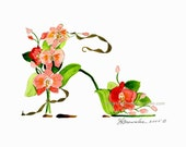 NEWLY REVISED - Orchid Flower Shoe Print - Signed & Enhanced with Paint before Free Shipping