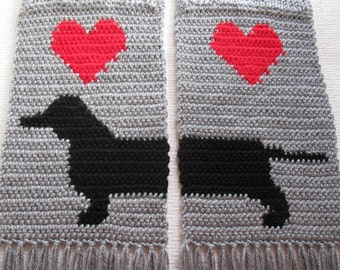 Knitted Dachshund Scarf.  Gray knit scarf with red hearts and dachshund dogs.
