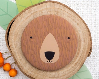 Brown Bear Pocket Mirror. Stocking filler gift. Woodland animal. European bear. Cute Bear Gift.
