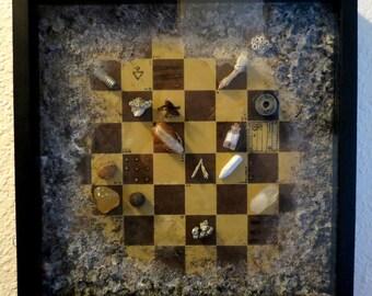 Token Chess Shadowbox Assemblage