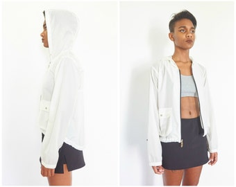 90s Sheer White Nylon Shell Jacket w/ Hood