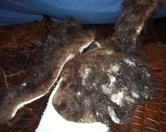 Real animal fur buffalo scrap deer cow hair leather craft tanned F - 23
