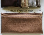 Copper fused leather envelope system wallet with 6 cash dividers