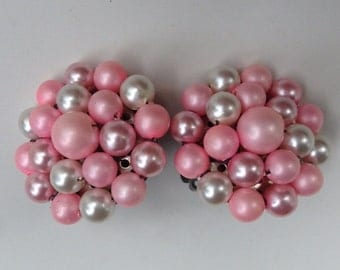 Pink Pearlescent Cluster Beaded clip on Earrings
