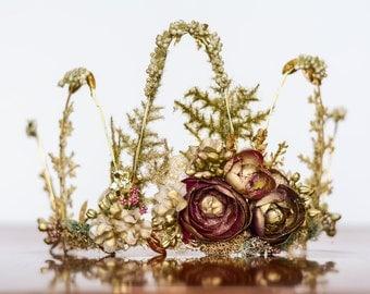 Flower Crown - Golden Wire Crown - Fairy Crown - Flowergirl hairpiece - Summer Wedding - Wedding Crown - Floral Hairpiece