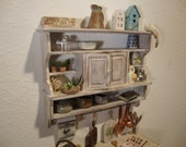 dollhouse  miniature  Kitchen panel with cabinet doors in the middle