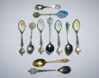 Souvenir Spoons Vintage Lot of Eleven From Around The World