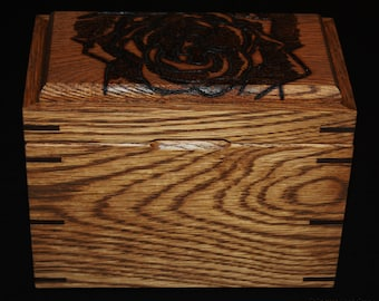Mother's Day Gift For Her - Handmade In America - Stained Oak Recipe Box With Woodburning Of A Rose - Recipe Cards And Dividers Included