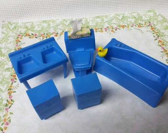 MPC Blue Bathroom  Fixtures Doll House Toy Bathroom Soft Plastic CLEARANCE