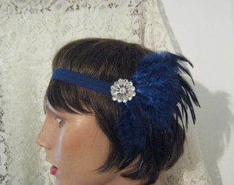 Flapper headband 1920's headband Silver blue headband Flapper headpiece 1920's headpiece Gatsby bridal accessories hair accessories