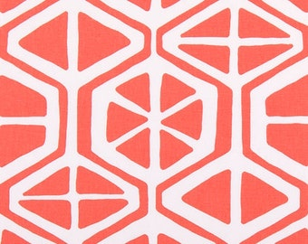 "Two 96"" x 50""  Custom Curtain Panels  -  Geometric - Coral/White"