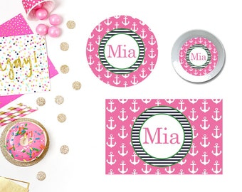 Anchors Pink Plate/Bowl/Placemat . Personalized Plate . Personalized Placemat . Anchors . Custom Plate . Pink Plate . Girls Plate
