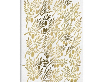 iCanvas Gold Olive Branches Artprint Gallery Wrapped Canvas Art Print by Cat Coquillette