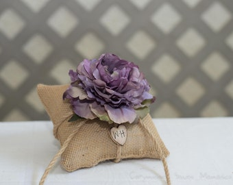 Lavender peony Burlap ring bearer pillow personalized with bride and groom initials other flowers to select from