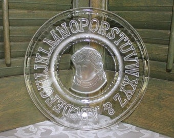 Child ABC Plate Clay Crystal Early American Pressed Glass
